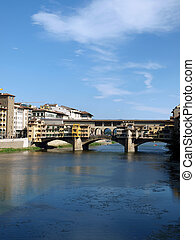 The Ponte Vecchio /Old Bridge/ is a Medieval bridge over the Arno River, in Florence, Italy
