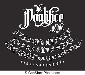The Pontifice - vintage gothic label font. Vector typeface...