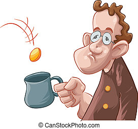 a beggar getting some coin in his mug