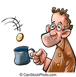 the poor man - a beggar getting some coin in his mug