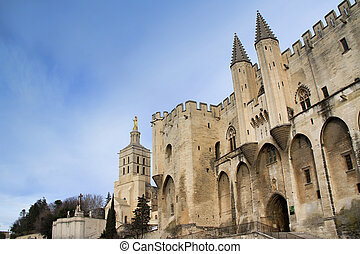 The Popes' Palace in Avignon, France on sundown