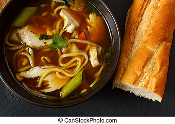 chicken noodle soup - the popular comfort food of chicken...