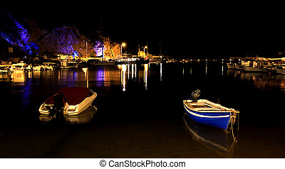 The port from Limenaria at night