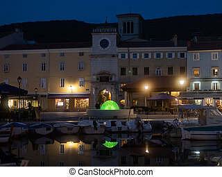 the port of Cres at a clear spring night