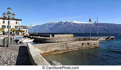 The port of Gargnano on Lake Garda in winter - Brescia