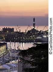 The Port of Genoa and the lighthouse
