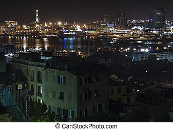 The port of Genoa by night