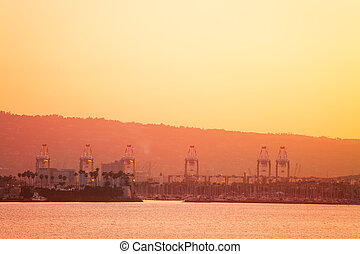 The Port of Long Beach at dusk, view from sea, USA