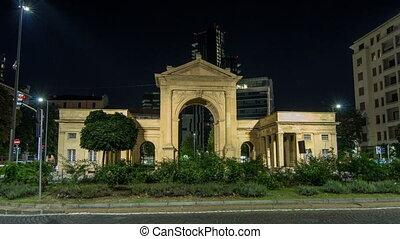 The Porta Nuova city gates night timelapse hyperlapse in Milan Italy