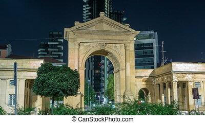 The Porta Nuova city gates night timelapse in Milan Italy