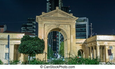 The Porta Nuova city gates night timelapse in Milan Italy