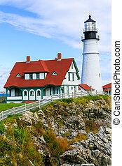 Portland Headlight Lighthouse in South Portland Maine.
