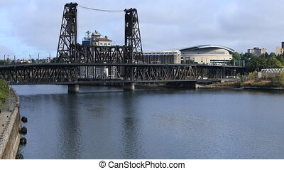 Portland, Oregon city center and bridge over Willamette...