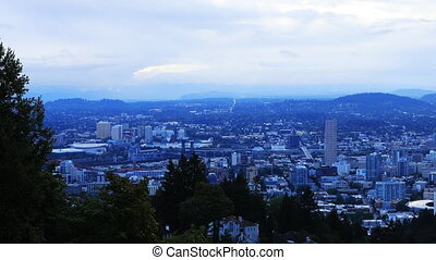 Portland, Oregon city center in the morning - The Portland,...