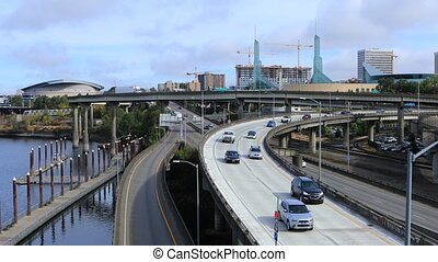 Portland, Oregon expressway by the Willamette River - The...