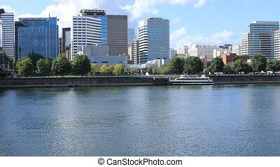 Portland, Oregon skyline across the Willamette River - The...