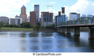 Portland, Oregon skyline and bridge the Willamette River -...