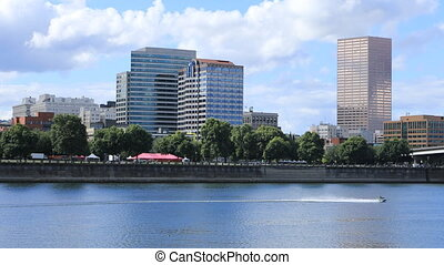 Portland, Oregon skyline by the Willamette River - The...