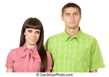 The portrait of a young couple in love