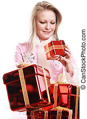 the portrait of the happy girl with gifts