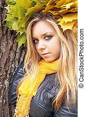 blonde in the autumn garland