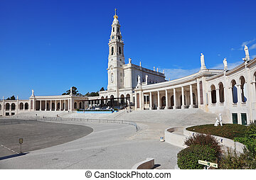 The Portuguese town of Fatima - A huge tower and a marble...