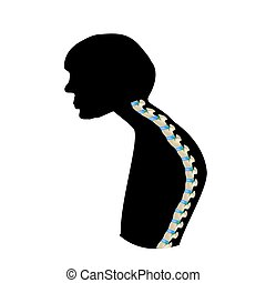 The position of the spine with kyphosis. Black and white silhouette icon. Spinal curvature, kyphosis, lordosis, scoliosis, arthrosis. Improper posture and stoop. Infographics. Vector illustration