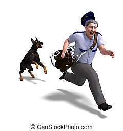 the postman runs from the dangerous dog. 3D rendering with clipping path and shadow over white