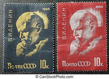 The postmark with Lenin