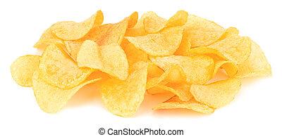 Potato chips isolated on white background.