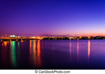 The Potomac River at night in Washington, DC.