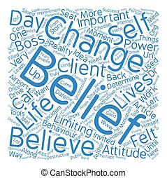 The Power of Beliefs text background word cloud concept