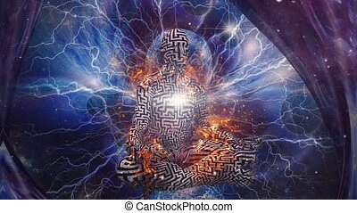 The Power of Meditation. Burning man with maze pattern ...