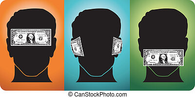 The power of money - Three heads with their senses blocked ...