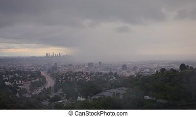 The power of nature: Stunning view of Los Angeles in a rainy...