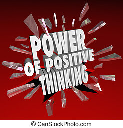 The Power of Positive Thinking Words 3D Saying Attitude -...