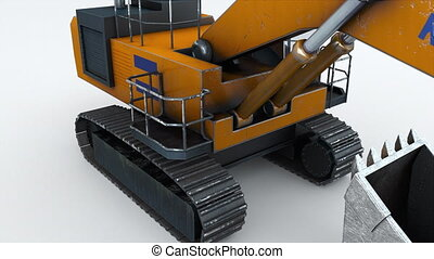 The powerful mining excavator, computer generated. 3d ...