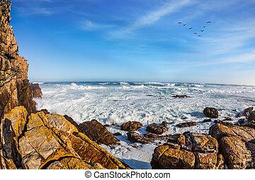 The powerful ocean surf