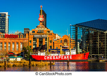 The Powerplant and Chesapeake Lightship in the Inner Harbor...