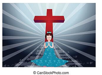 The prayer - Pretty girl kneeling and praying with cross