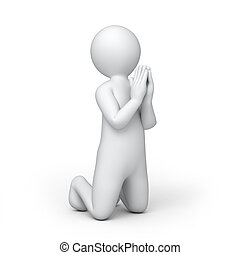 the praying 3d human, isolated on white