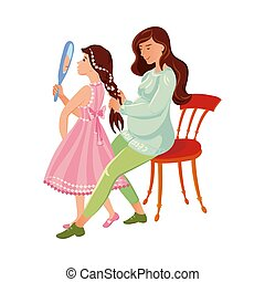 The pregnant mother combs her daughter s hair. Vector illustration in flat cartoon style.