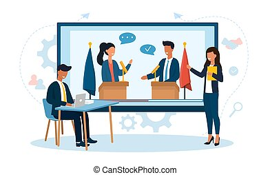 Tv presenters provide live coverage of the meeting of world leaders live. Live streaming concept. Online news. Flat vector cartoon illustration with fictional characters.