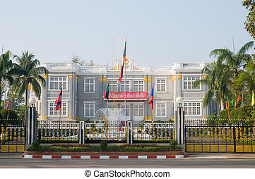 Front view of the Presidential Palace in Vientiane, Laos.