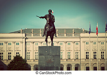 The Presidential Palace in Warsaw, Poland. Retro vintage...