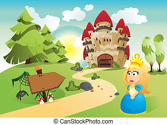Landscape from fairy tale with princess and castle
