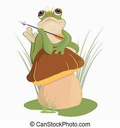 The princess frog sits on the mushroom