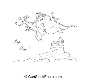 The princess is flying on a dragon. Queen and dinosaur. - Vector