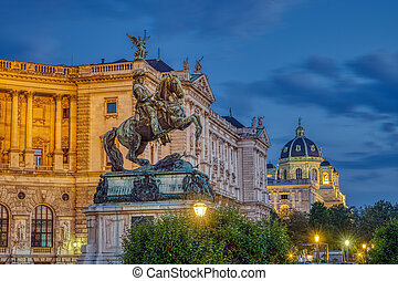 The Prinz Eugen Statue with part of the Hofburg and the Kunsthistorisches Museum in Vienna at night