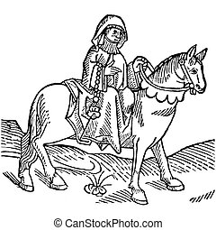 The Prioress from The Canterbury Tales by Geoffrey Chaucer - Woodcut from the Caxton's Edition of 1485